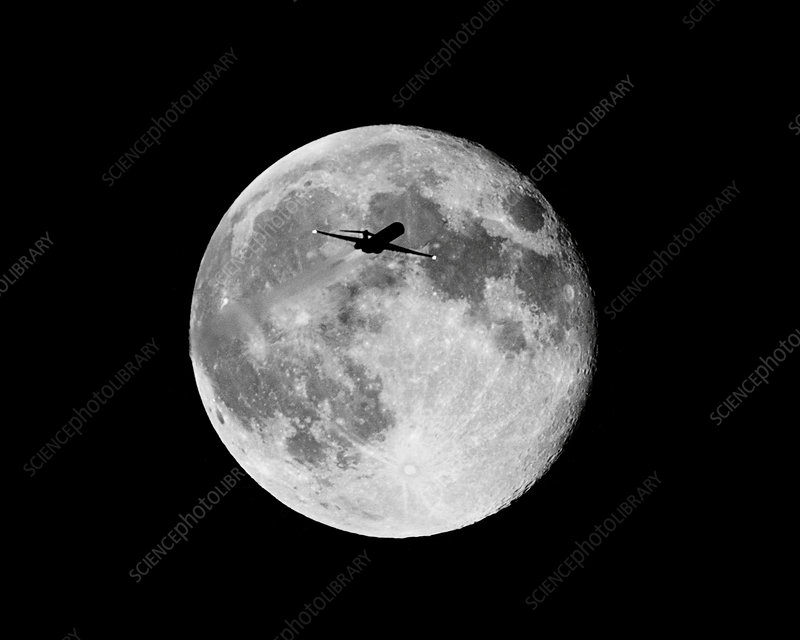 Jet Crossing in Front of the Moon