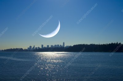 Crescent Moon over Vancouver