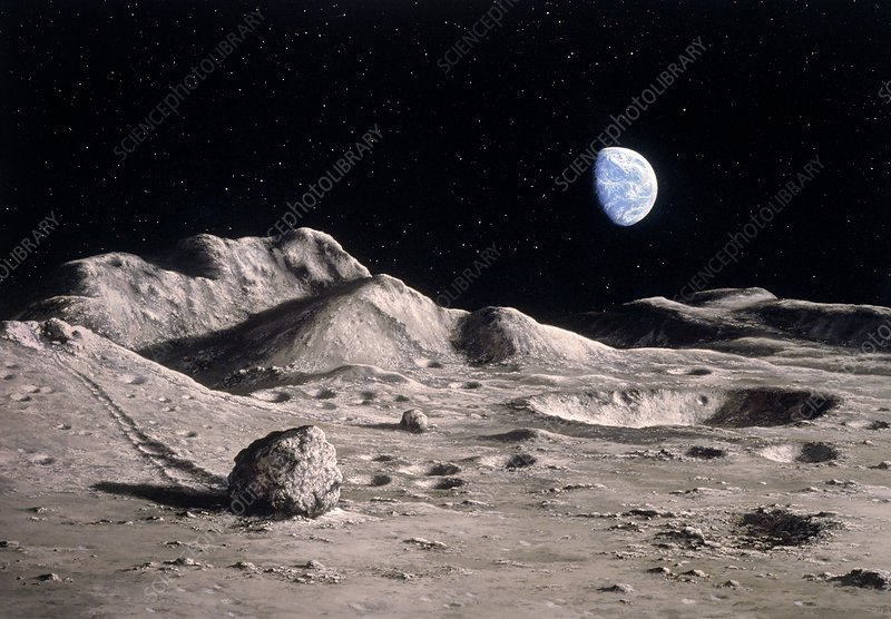 Artwork of Moon's surface with Earth in the sky