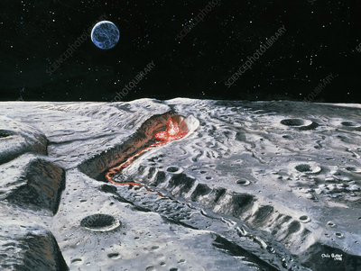 Artwork of a volcano erupting in the Moon's past