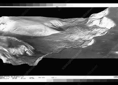 View of landslides in the Valles Marineris, Mars