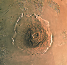 Computer-enhanced image of Olympus Mons,