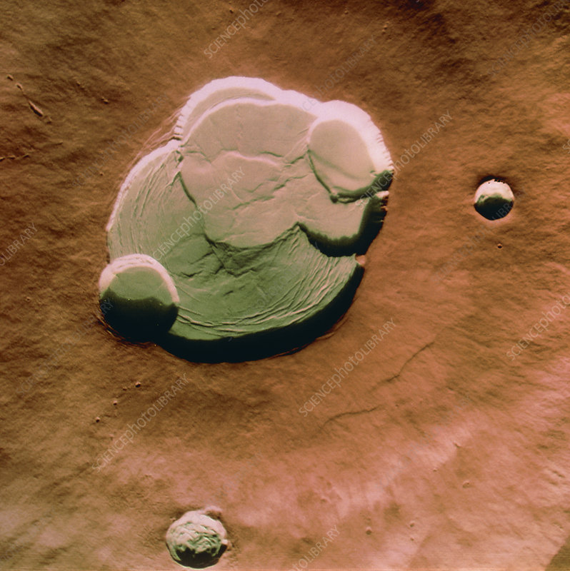 Coloured view of caldera of Olympus Mons on Mars