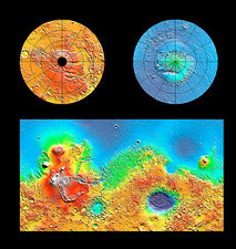 3-D image of the global topography of Mars