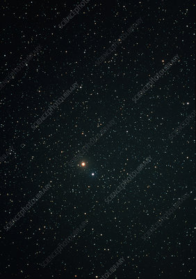 Optical image of Mars near the bright star Spica