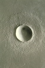 Global Surveyor image of a crater on Mars