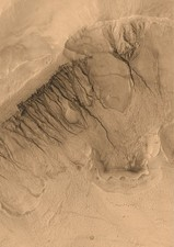 Gullies on a Martian crater wall
