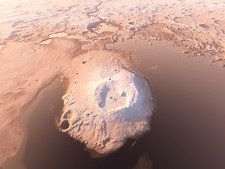Water around Martian volcano