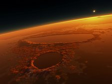 Sunset over water on Mars