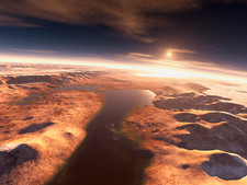 Sunrise over water on Mars