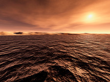 Sun over water on Mars