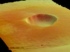 Martian caldera dust fall