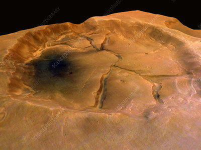 Fractured crater, Mars