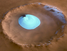 Water ice in a Martian crater