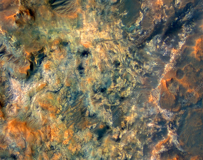 Martian landscape, satellite image