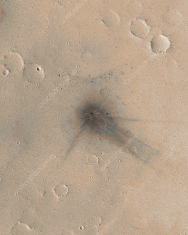 Martian impact crater, satellite image