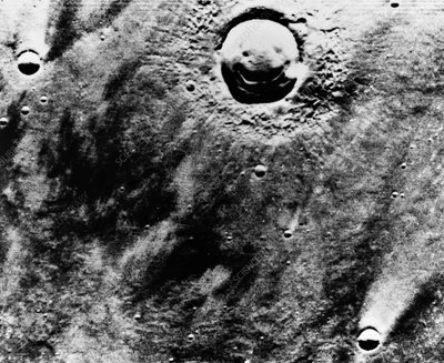 'Happy Face' crater, Mars, Viking Orbiter image