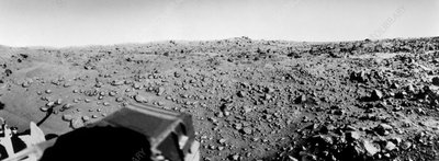 Wide angle view of Mars surface made by Viking 1