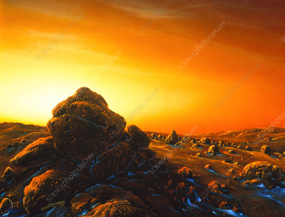 Artwork of sunrise over the surface of Mars