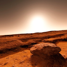 Martian landscape and Sun, artwork