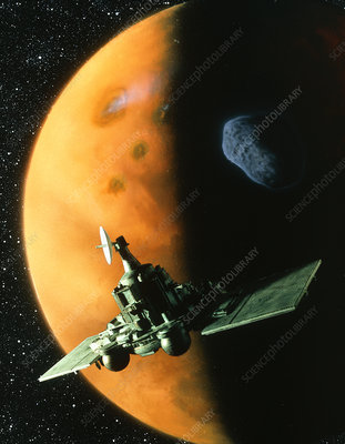 Artwork of Phobos spacecraft in orbit around Mars