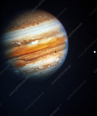 Voyager 1 photo of Jupiter & two of its moons
