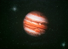 Jupiter on starry background