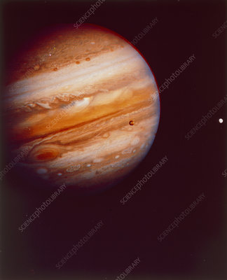 Voyager 1 photograph of Jupiter & moons