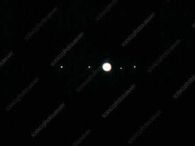 Jupiter and its four Galilean moons