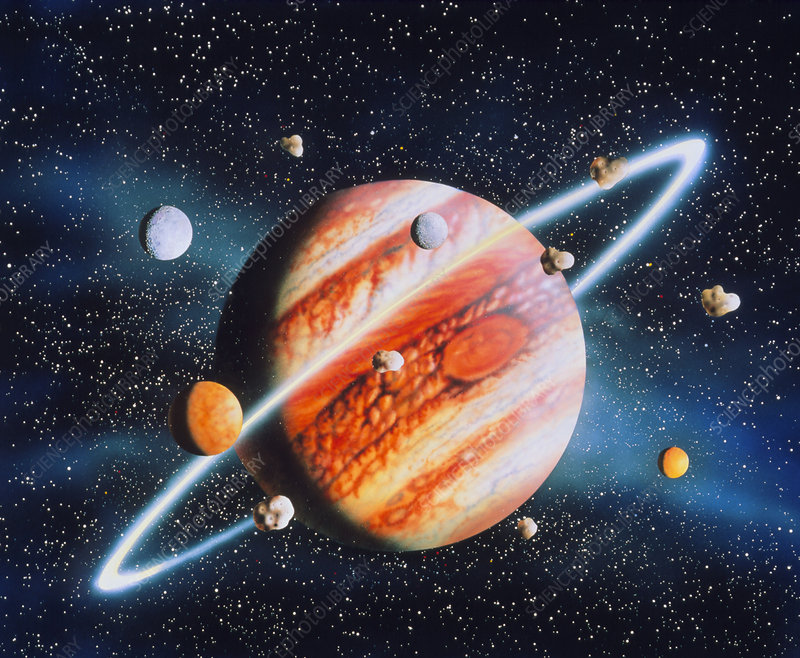 Artwork Of Jupiter With Moons And Ring Stock Image R370