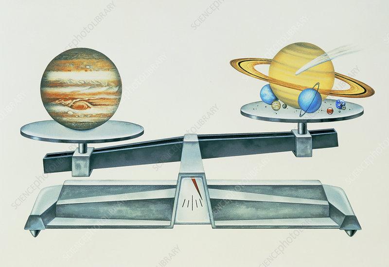 mass of jupiter compared to rest of planets stock image. Black Bedroom Furniture Sets. Home Design Ideas