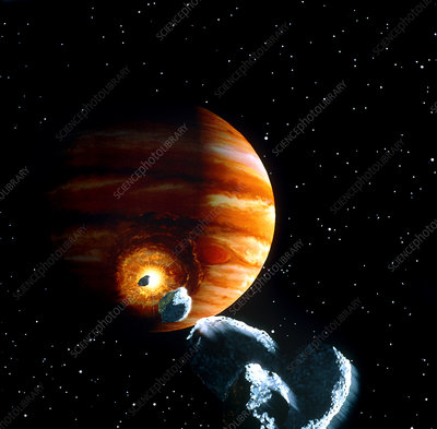 Artwork of first comet impacts on Jupiter, 1994