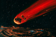Comet Shoemaker-Levy strikes Jupiter, artwork