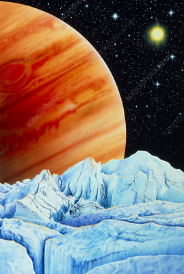 Artwork of Europa's surface, & Jupiter in the sky
