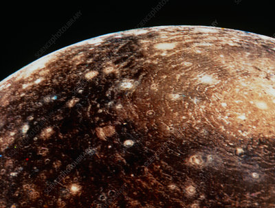 Voyager 1 photo of Callisto, Jupiter's fourth moon