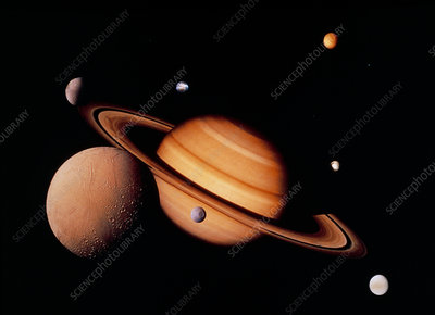Montage of Voyager photos of Saturn & it's moons