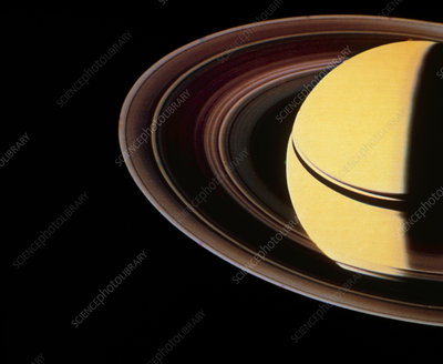 Voyager 2 photo showing Saturn & its ring system