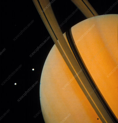 Voyager 1 photograph of Saturn & two of its moons