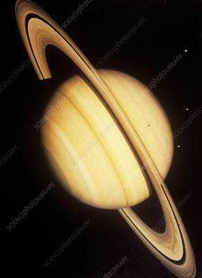 Voyager 2 photo of Saturn & three of its moons