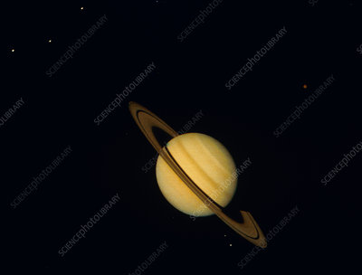 Voyager 1 photo of Saturn & six of its moons