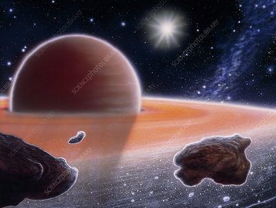 Artwork of shepherd moons in Saturn's ring plane