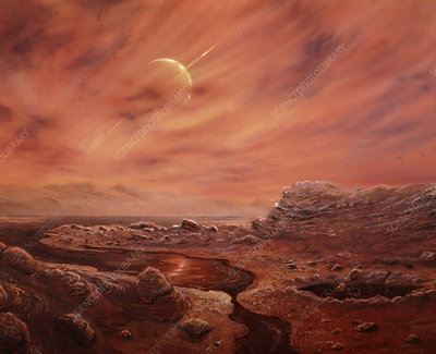 Artist's impression of surface of Titan