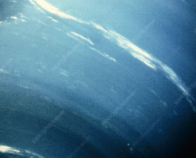 Voyager 2 image of Cirrus clouds, on Neptune