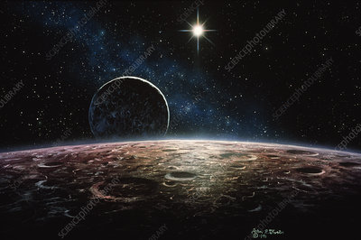 Artwork of the planet Pluto and its moon Charon
