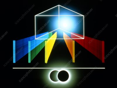 Artwork of a prism giving a comet's spectrum