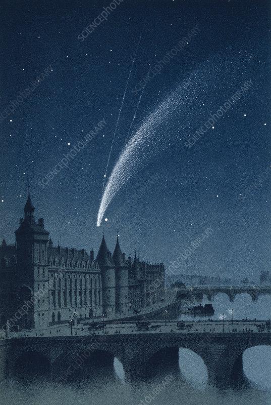 Donati's Comet over Paris, 1858, artwork