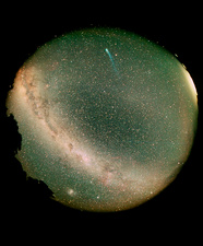 Fisheye view showing comet Hyakutake & Milky Way