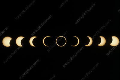 Time-lapse image of a solar eclipse