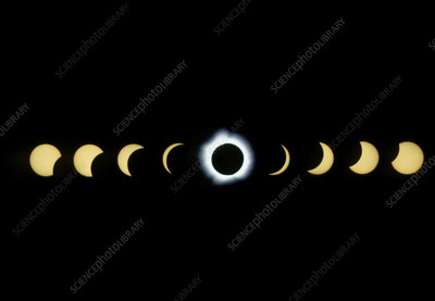 Timelapse image of a total solar eclipse