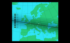 Path of 1999 solar eclipse across Europe